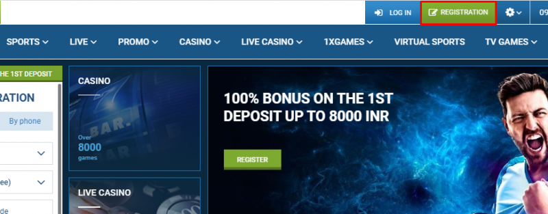 1xBet India Registration - Home page