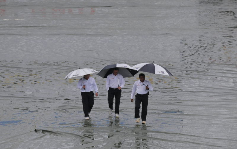 Umpires checking condition of the ground in rain. Rain is the most common cause of draw matches in cricket
